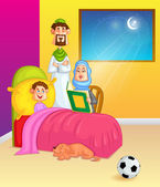 Muslim family reading Koran on eve of Eid — Stock Vector