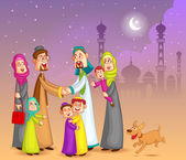 Muslim families wishing Happy Eid — Stock Vector