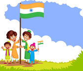 Indian kid hoisting flag of India — Stock Vector