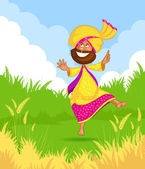 Sikh man doing Bhangra dance — Stock Vector
