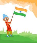 Sikh boy hoisting Indian flag — Stock Vector