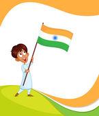 Indian boy hoisting flag of India — Stock Vector