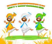 Sikh man doing Bhangra dance — Wektor stockowy