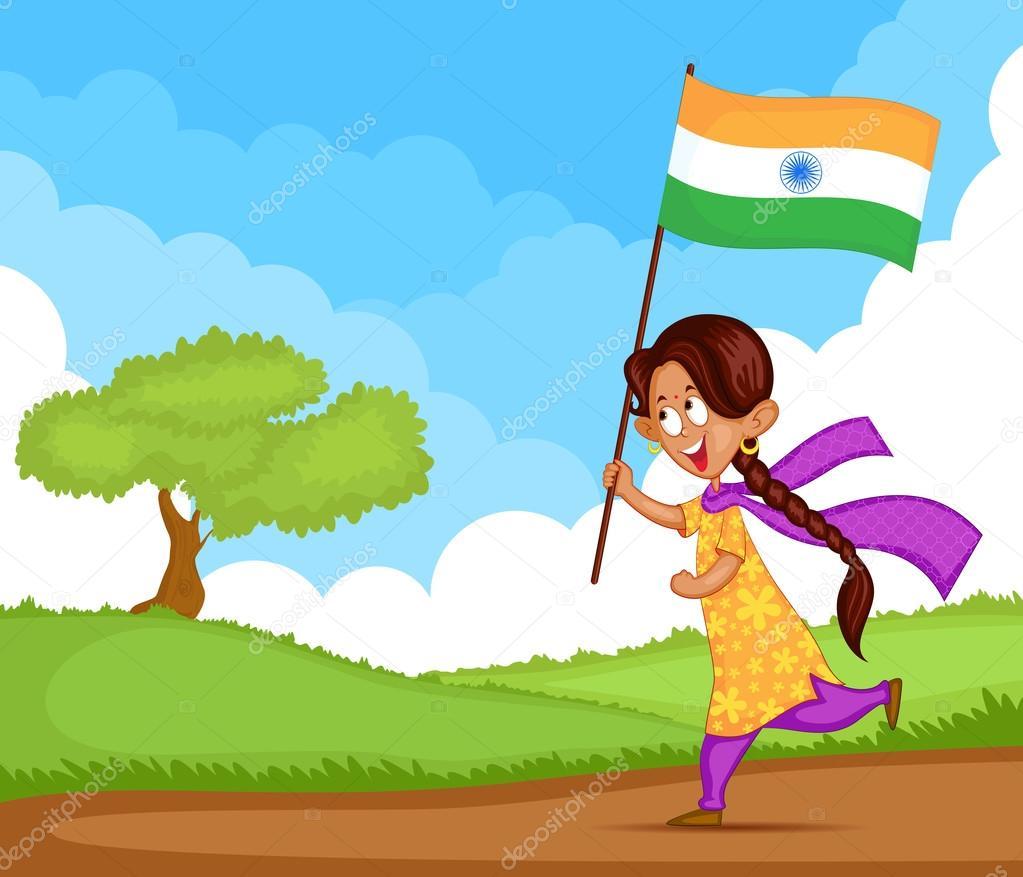 印度女孩挥舞着国旗的印度在矢量背景— 矢量图片作者 stock