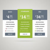 Pricing table. Vector illustration. — Stock Vector