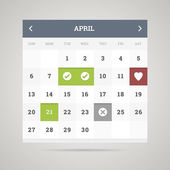Flat calendar. Vector illustration. — 图库矢量图片