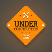 Under construction with coming soon label. — Stock Vector