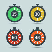 Timer icons with color gradation and numbers in flat style on a  — Stock Vector