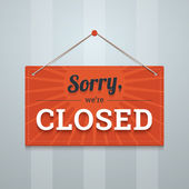 We are sorry closed red sign on a wall. — Stock Vector