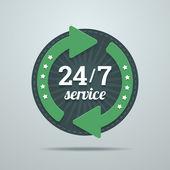 24 7 uren dienst ondertekenen in vlakke stijl. — Stockvector