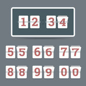 Flip clock in flat style with all flipping numbers. — Stock vektor