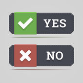 Yes and no button with check and cross icons in flat style. — Stock Vector
