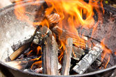 Hot burning wood,charcoal, grill on fire — Stock Photo