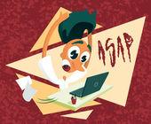 ASAP - Desperate office worker — Stock Vector