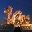 Chinese dragon statue at the twilight — Stock Photo