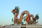 Chinese golden dragon on sky background — Stock Photo