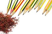 Pencil and crayon shavings — Stok fotoğraf