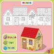 COLOR-CUT-GLUE. Cartoon Illustration of house with animals — Stock Vector #41261307