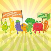 Vegetable and fruit characters parade with posters — Stock Vector