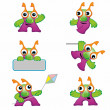 Stock Vector: Set of cute monster