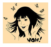 Girl with butterflies around are waving hands thrilled — Stockvector