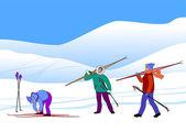 лыжники — Cтоковый вектор