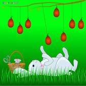 Bunny Paskalya yumurtaları ile oynuyor — Stok Vektör