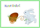Easter greeting card with two rabbits — Stock Vector