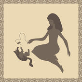Girl playing by bow with cat — Vector de stock