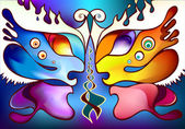 Multicolor butterfly wings as two half faces facing each other — Stock vektor
