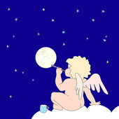 Funny little angel blow bubble as moon — Stock Vector