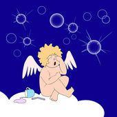 Funny little angel weep over soap-bubbles — Stock Vector