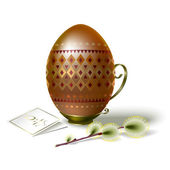 Easter egg with brown ornament and sprig of willow — Stock Vector