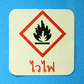 Warning symbol flame — Stock Photo