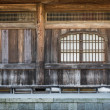 Japanese wooden temple interior details — Stock Photo