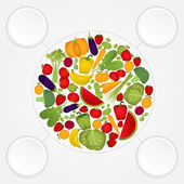 Circle of fruits and vegetables with copy space. — Stock Vector
