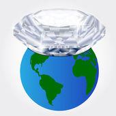埋在地球上的钻石 — 图库矢量图片
