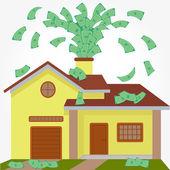 House spouting money — Stock Vector