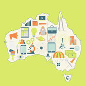 Map of Australia with technology icons — Stock Vector
