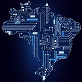 Map of Brazil with electronic circuit — Stock Vector