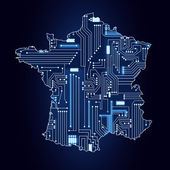 Map of France with electronic circuit — Stock Vector