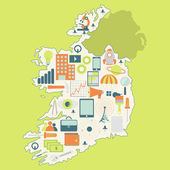 Map of Ireland with technology icons — Stock Vector