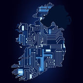 Map of Ireland with electronic circuit — Vetor de Stock