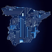 Map of Spain with electronic circuit — Stockvector