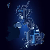 Map of United Kingdom with electronic circuit — Stockvector