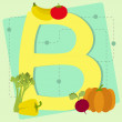 """Letter """"b"""" from stylized alphabet with fruits and vegetables — Stock Vector"""