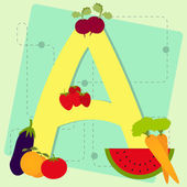 "Letter ""a"" from stylized alphabet with fruits and vegetables — ストックベクタ"