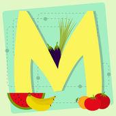 """Lettera """"m"""", dall'alfabeto stilizzato con frutta e verdura — Vettoriale Stock"""