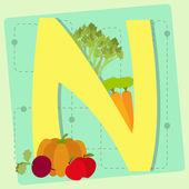 """Buchstaben """"n"""" aus stilisierten Alphabet mit Obst und Gemüse — Stockvektor"""