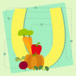 """Letter """"u"""" from stylized alphabet with fruits and vegetables — Stock Vector"""